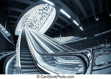 Moving escalator in the business center of a city