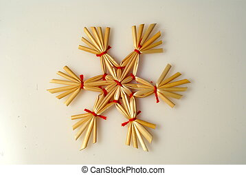 wicker star - wicker straw and thread star - christmas tree...