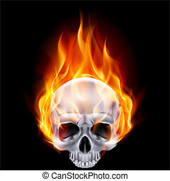 Fiery skull - Illustration of chrome fiery skull on black...
