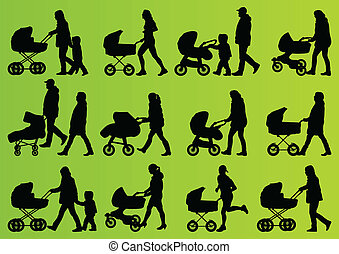 Young family baby pram and carriage detailed silhouettes vector