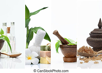 four - Spa theme  photo collage composed of different images