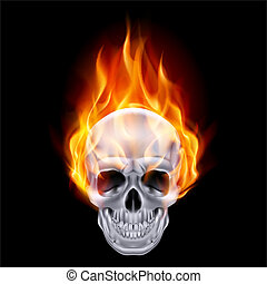 Fiery skull - Illustration of chrome fire skull on black...
