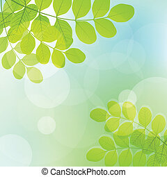 Fresh leaves and light glitter vector background