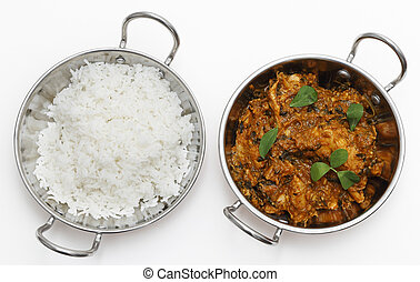 Methi chicken and rice in kadai bowls - Methi murgh -...