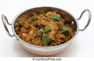 Methi chicken in a kadai - Methi murgh - chicken cooked with...