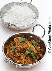 Methi chicken and rice in kadai bowls vertical - Methi murgh...