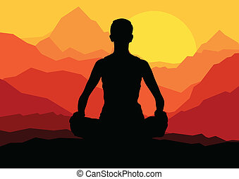 Yoga woman sunrise vector background for poster