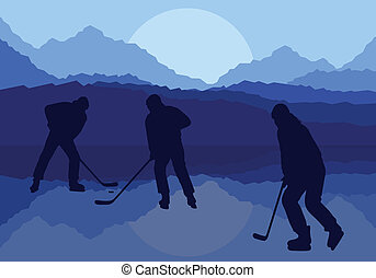 Hockey players on abstract ice field vector background -...