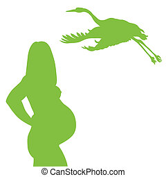 Healthy pregnant mother and stork vector background
