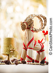 Christmas decor. - Christmas decor, straw billy goat....