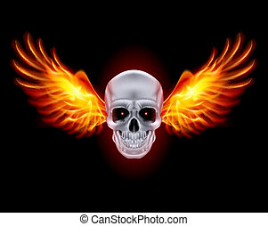 Skull with fire wings - Skull with fire wings on black...