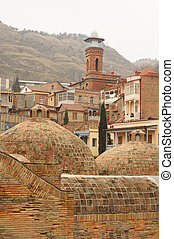 Domes of ancient sulfuric baths - One of the old Tbilisi...