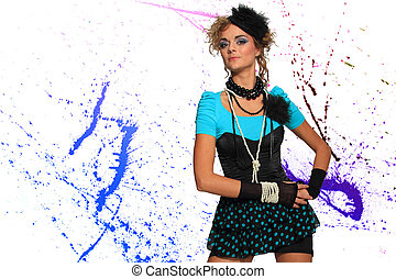 Fashion woman 80s style over pain splatter background