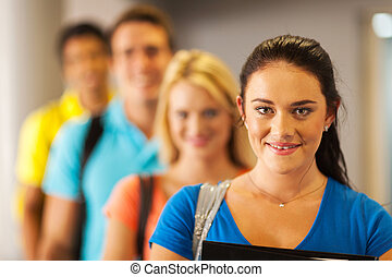 group of university students close up - group of pretty...