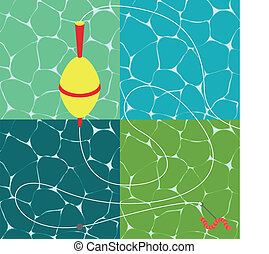 Fishing season water textures illustration collection background vector