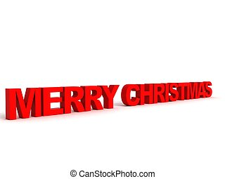 three dimensional side view of merry christmas text