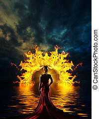 Classy Woman at hell's door - Woman at hell's door dramatic...