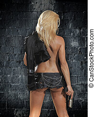 Beautiful sexy girl with gun - Beautiful sexy blonde girl...
