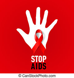 Stop AIDS sign - Stop AIDS sign: white hand with red ribbon...