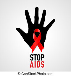 Stop AIDS sign - Stop AIDS sign: with black hand and red...