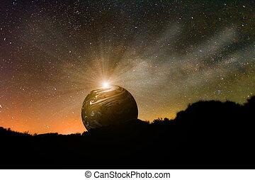 planeta, levantamiento, noche