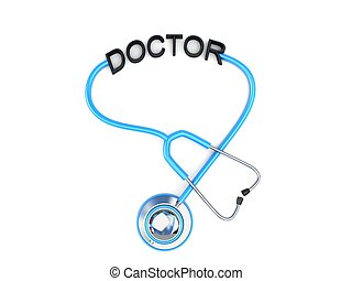stethoscope and doctor text