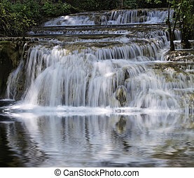 Scenic waterfall with white water cascading over rocks