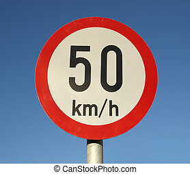 Speed limit sign - Traffic speed limit sign over blue sky