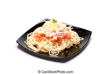 spaghetti - black plate with italian pasta