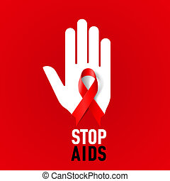 Stop AIDS sign - Stop AIDS sign with white hand and red...