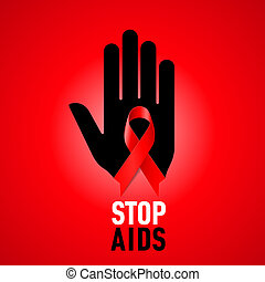 Stop AIDS sign. - Stop AIDS sign: black hand with red ribbon...