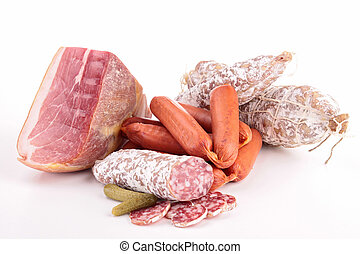 assortment of meats isolated