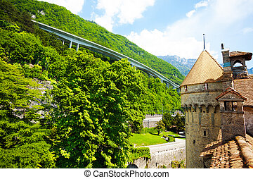Modern and past, chateau de Chillon - Chillon castle and...