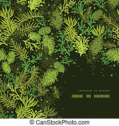 Evergreen christmas tree corner frame pattern background -...