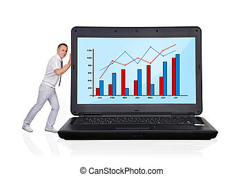 laptop with business chart - businessman pushing big laptop...