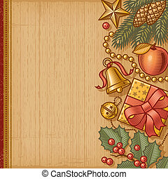Retro Christmas background in woodcut style. EPS10 editable...