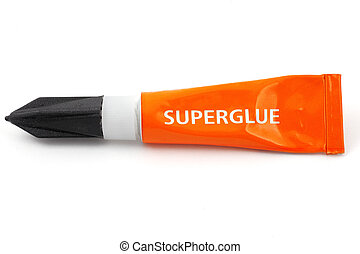 orange plastic tube labeled superglue on white
