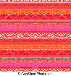 Striped ethnic pattern in vibrant red orange - Striped...
