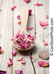Homeopathic spa - Homeopathic medicine; flower dry petals...