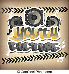 youth culture over beige background vector illustration