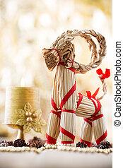 Christmas decor. - Christmas decor, straw billy goat....