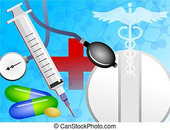 medical collage - Abstract medical background design with...