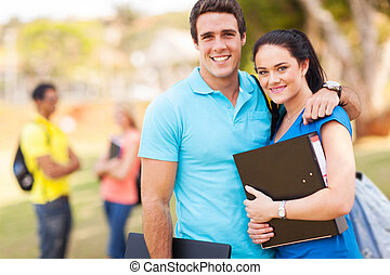 young college couple on campus
