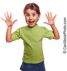 girl little pleased joyful surprise spread her arms - girl...