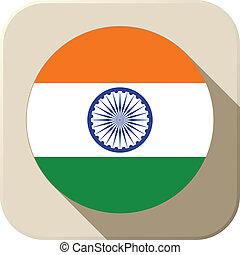 India Flag Button Icon Modern