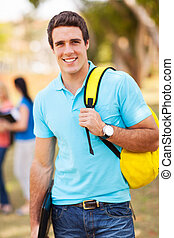 male university student outdoors - portrait of male...