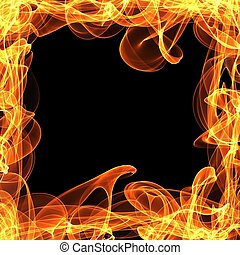 frame of fire on the black background