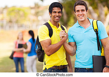 male university students brotherhood - cheerful male...