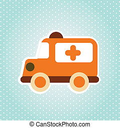 ambulance design over dotted background vector illustration