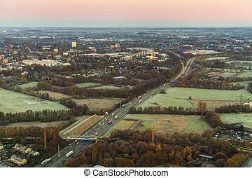 aerial of highway on early morning in hamburg